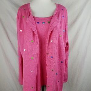 Quacker Factory XL Pink Heart Vtg Button Sweater
